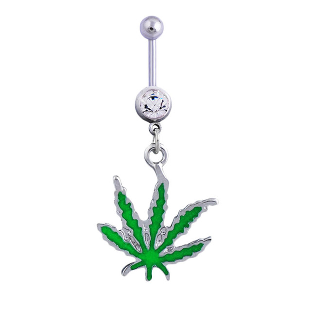 1pc Green Maple Leaf Navel...