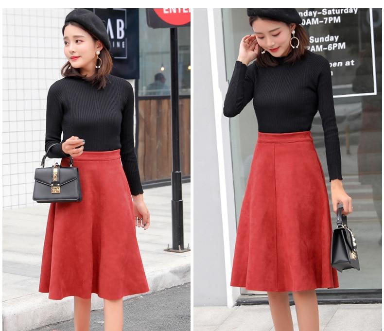 Neophil Women Suede High Waist Midi Skirt 19 Winter Vintage Style Pleated Ladies A Line Black Flare Skirt Saia Femininas S1802 11