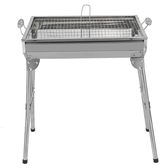 Household Camping Barrel Bbq Grill Oven High Grade Stainless Steel Charcoal Portable Party Accessories