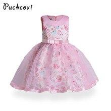 Printted Puckcovi Meninas Vestir Crianças roupas de Verão 2018 vestido de princesa vestidos de festa rosa Claro Vestidos Meninas vestidos de Casamento