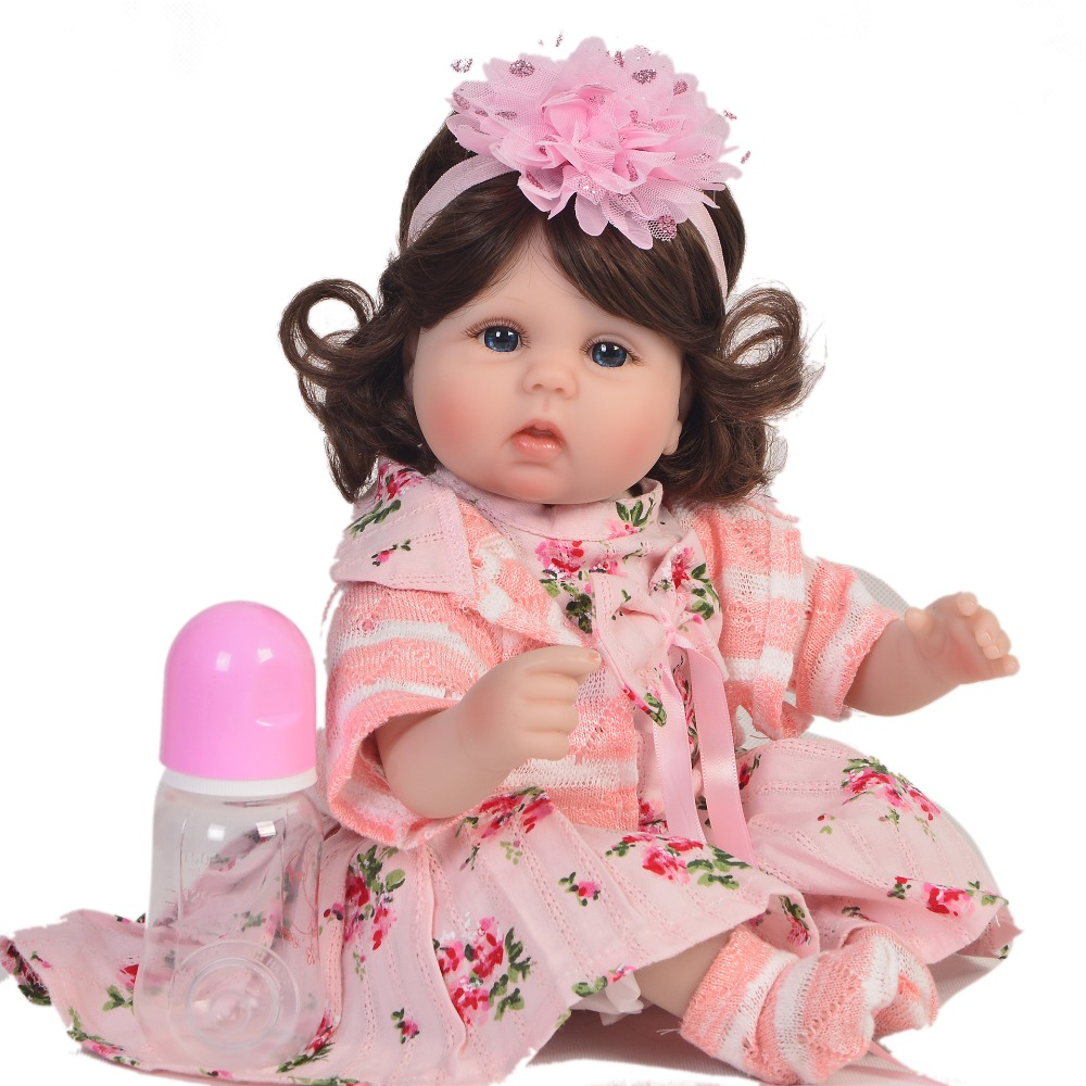 18 43cm curly girl silicone reborn baby doll toys for children new year gift super realistic