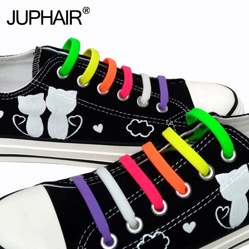 New 1 Set /16 Pcs Adult Novelty No Necktie Shoelaces Elastic Silicone Leather Laces Men Womens All Sneakers Fit Belt Cheap Price Long Performance Life Shoelaces Shoe Accessories