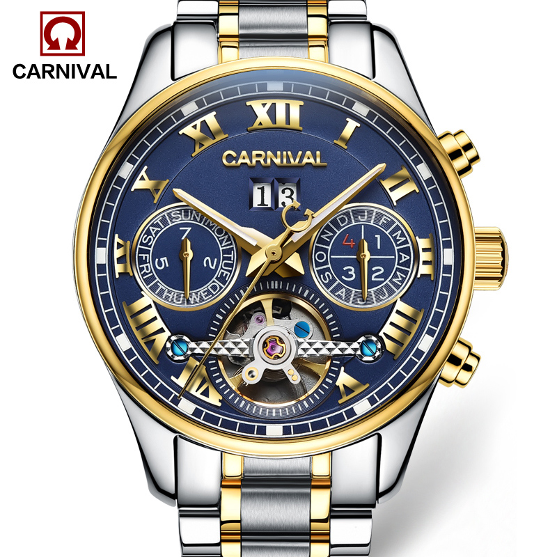 Luxury Stainless Steel Watch Men Automatic Self-Wind Sapphire Glass Tourbillon Blue Dial Silver Case Watches reloj relogio 5 ATM tevise men automatic self wind gola stainless steel watches luxury 12 symbolic animals dial mechanical date wristwatches9055g