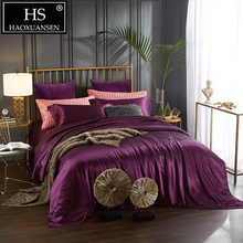 100% Mulberry Silk 4 Pcs Bedding Sets With Hidden Button Both Side 19 Momme Sheet Quilt cover Pillow case King Size Purple