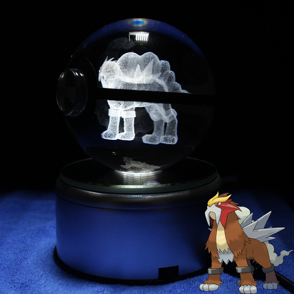 Entei Design Crystal Pokeball Lamp Desktop Paperweight Decoration Light Glass Ball With LED Colorful Base