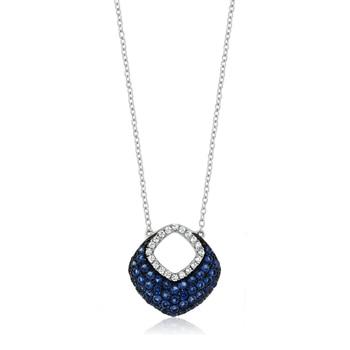 925 Silver Pendant w/ Blue White Created Sapphire & Blue CZ on 18″ Silver Chain