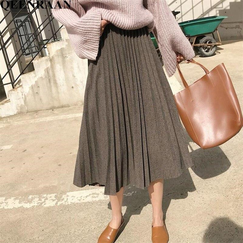 2019 Autumn Winter Streetwear Vintage Woolen Pleated Skirt Womens High Waist Midi Skirt Femme A-line Maxi Umbrella Skirts
