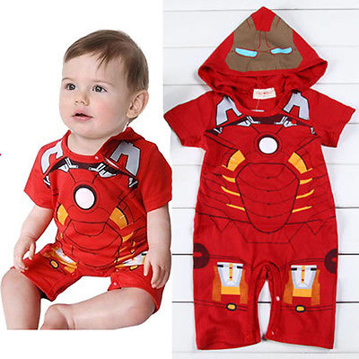 2016 Baby Boy Girls Infant Red Iron Man Hooded Romper Playsuit Outfit Jumpsuit Babygrows 0-18M