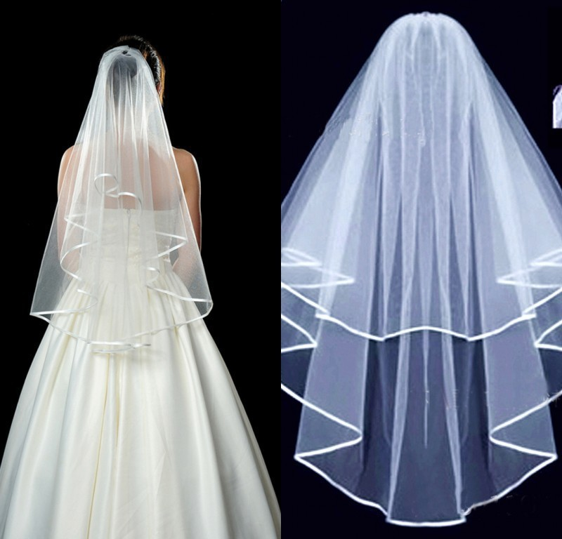 2018 New Arrival Wedding Accessories 1.4 M Two Layer Ribbon Edge White Ivory Wedding Veils Bridal Veil With Comb