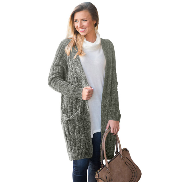 Fashion Women Winter Solid Woolen Knitted Sweater Cardigan Lady Elegant Pockets Casual Autumn Outwear 2018 Harajuku Veste Femme