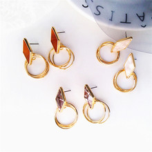 Golden earrings hollow-out the circle Simple geometric fashion and personality Ms decorations