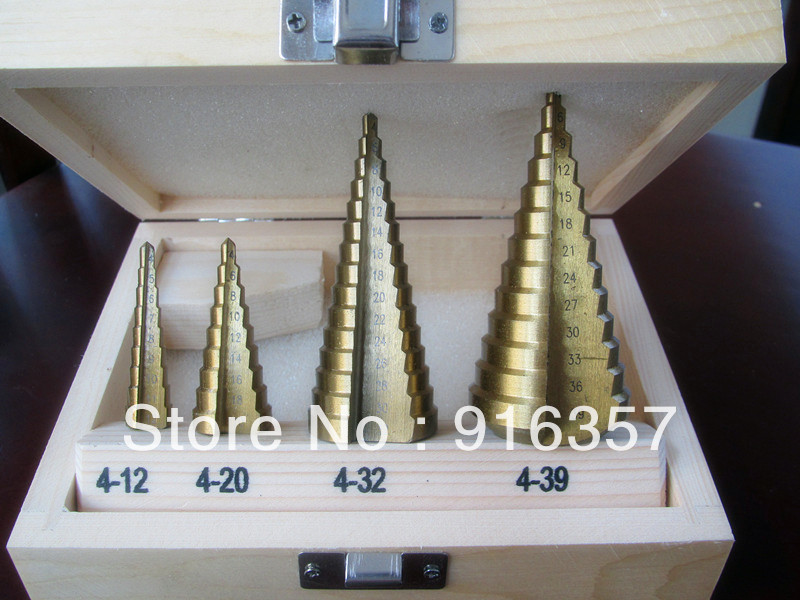 Free Shipping --  4pcs/set HSS Steel Step Drill Bit Titanium Coated Hole Cut Tool Set free shipping of 1pc hss 6542 full cnc grinded machine straight flute thin pitch tap m37 for processing steel aluminum workpiece