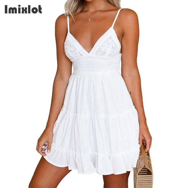 3dcb210abc9 Summer Women Lace Dress Sexy Backless V-neck Beach Dress 2018 Fashion  Sleeveless Spaghetti Strap Dresses Casual Mini Sundress
