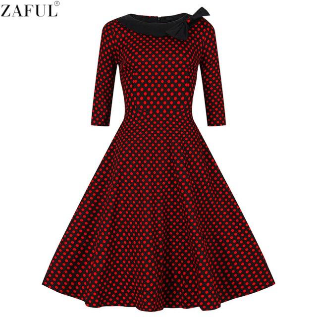 48d128389e6 ZAFUL Women Retro Dress Vintage Rockabilly Hepburn Dot Bowknot Ball Gown  Swing Party Prom Cocktail Tea