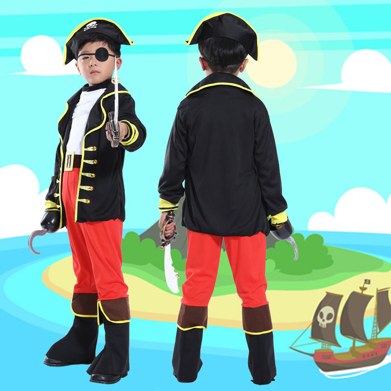 Halloween Costumes Kids Boys Pirate Costume Children Captain Jack Cosplay Set For Christmas New Year Purim Pirate Clothes