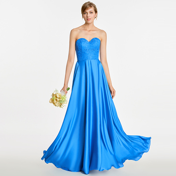 Tanpell strapless long bridesmaid dress royal blue sleeveless floor length a line gown women wedding party bridesmaid dresses