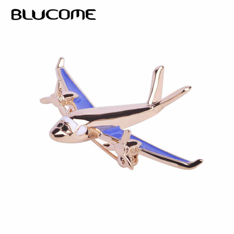 Blucome Airplane Model Brooch Red Enamel Gold Color Metal Brooches Pins Clothes Suit Accessories Fighter Aircraft Shape Clips