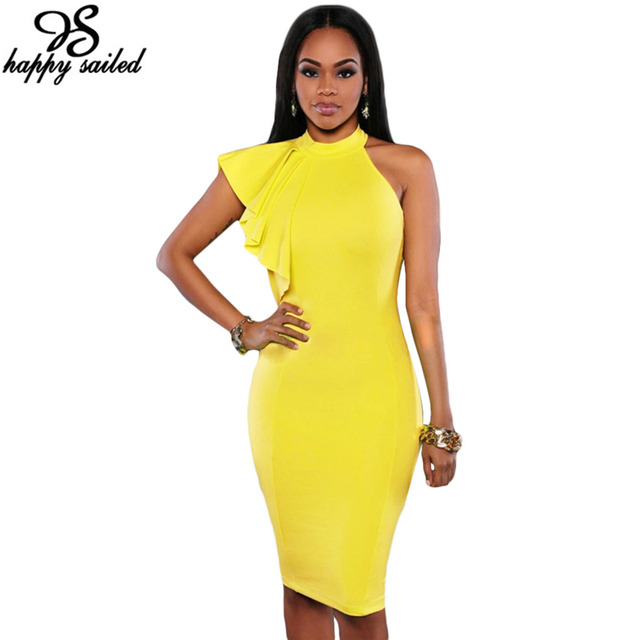 Happy Sailed Women Clothes Yellow Black White One Shoulder Ruffle