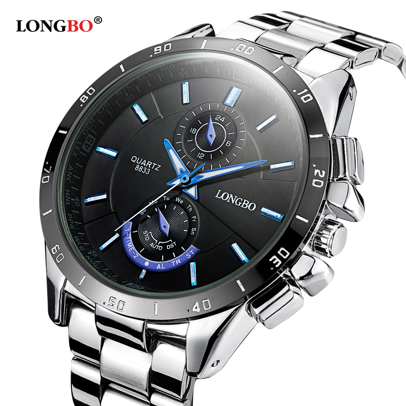 Prix pour Longbo marque 2016 nouveau luxe en acier inoxydable montre de mode hommes d'affaires élégant quartz montre conçu pour hommes de haute qualité horloge