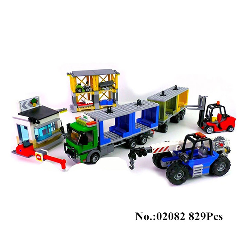 H&HXY In Stock 02082 City Series 829Pcs The Cargo Terminal Set Building Blocks Bricks lepin Educational Funny Toys As Gift Model in stock lepin 23015 485pcs science and technology education toys educational building blocks set classic pegasus toys gifts
