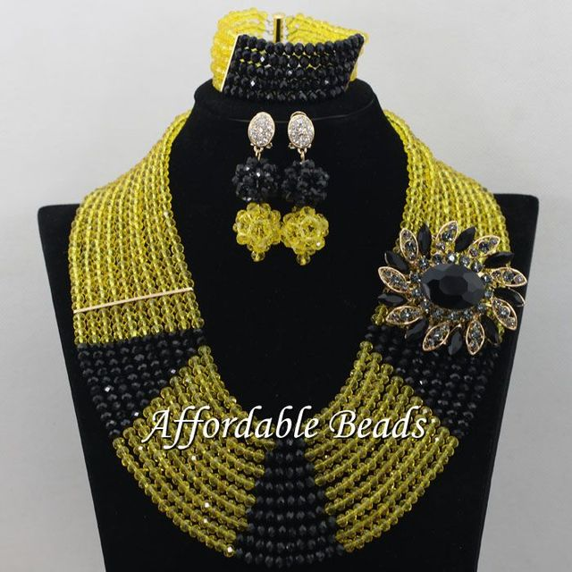 Lemon Yellow Black African Beads Set Latest Lace Jewelry Handmade Item Whole Free Shipping Abe162