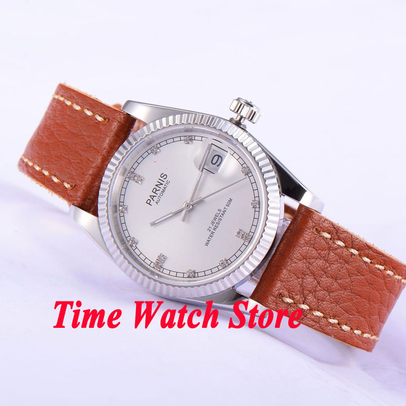 Parnis 36mm White dial date Luminous sapphire glass leather strap 21 jewels MIYOTA Automatic movement Men's watches women 535 36mm parnis dial luminous date window deployment clasp sapphire glass 21 jewels miyota automatic movement women s wristwatch