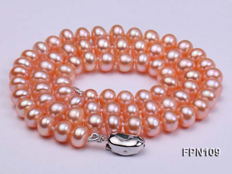 New Arriver Real Pearl Jewellery,Pink Color 7-8mm Flat Round Genuine Freshwater Pearl Necklace Perfect Women Gift JewelleryNew Arriver Real Pearl Jewellery,Pink Color 7-8mm Flat Round Genuine Freshwater Pearl Necklace Perfect Women Gift Jewellery