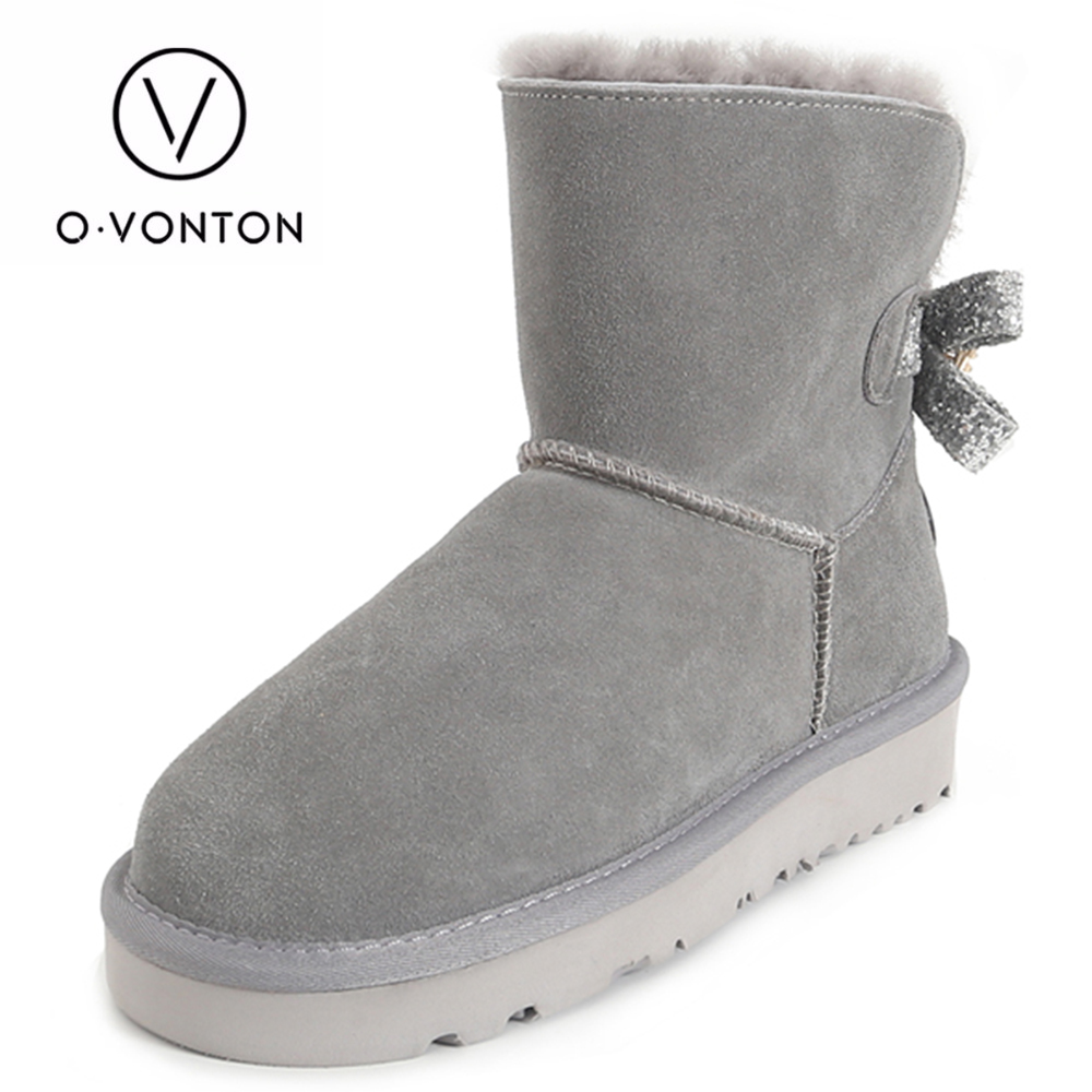 Q.VONTON Genuine Cow Suede Snow Boots Women Thermal Lace up Solid Ankle Boot Girl Casual Genuine Leather Shoes 2017 cow suede genuine leather female boots all season winter short plush to keep warm ankle boot solid snow boot bota feminina