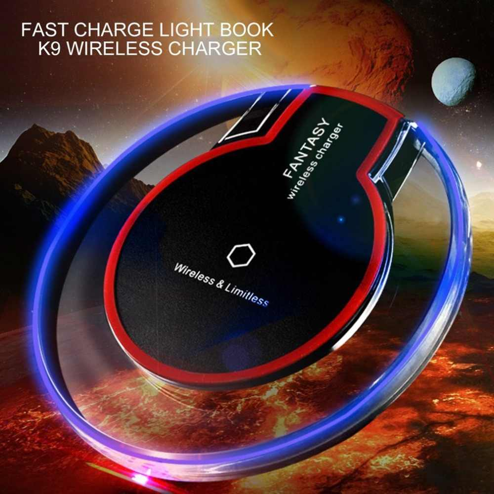 Ultra-Thin Crystal K9 Wireless Charger Fast Charge Round Base Transmitter For iphone X Mobile Phone Qi