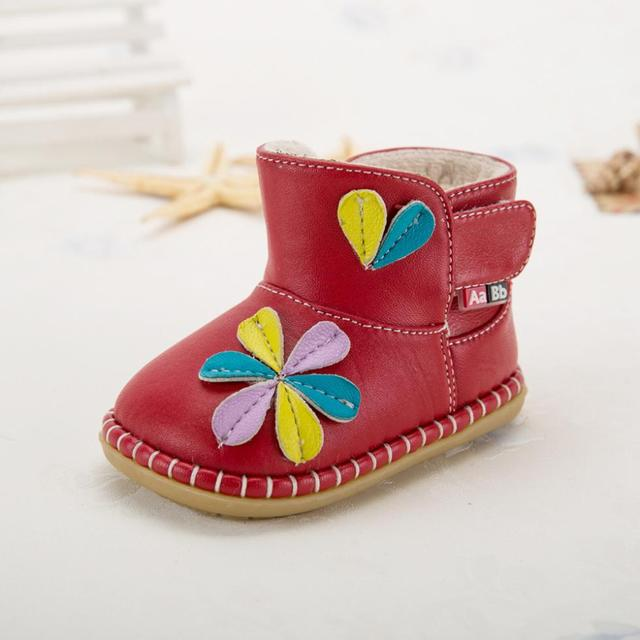 2015 winter baby boots girls shoes beautiful flower soft sole baby shoes high quality PU warm lining child toddler girl shoes