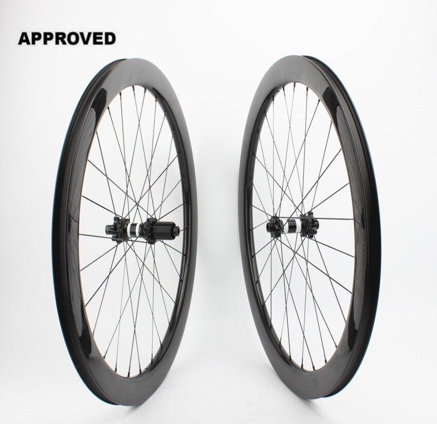 Farsports FSC50-CM-25 DT350 Tubeless Disco braking 50mm ciclismo ruota in carbonio, 6 bulloni perno Passante da ciclocross in carbonio ruote copertoncino