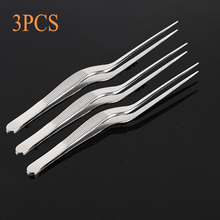 3pcs/Set 14cm Mini Professional Chef Plating Tweezer Tongs Serving Presentation  Stainless Steel Offset Kitchen Tool
