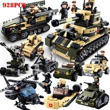 8 в 1 Военный танк автомобиль военный спецназ Солдат фигурки Строительные блоки DIY оружие техника просветить Кирпичи Детские игрушки