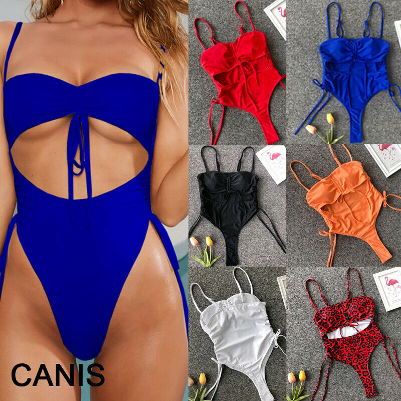 Summer Women One Piece Bandage Monokini Sexy Lace Up Padded High Waist Swimsuit Beachwear Swimwear Bathing suit Costume