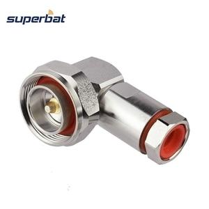 """Image 1 - Superbat 7/16 din macho plug center braçadeira de ângulo direito para 1/2 """"cabo flexível rf conector cabo montagem do cabo"""