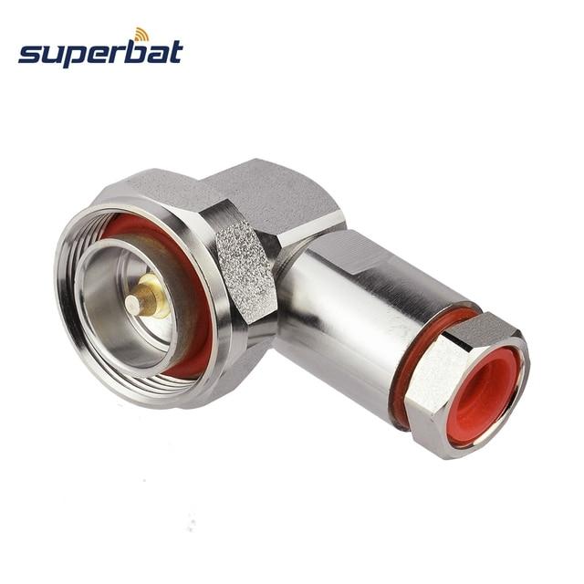 """Superbat 7/16 din macho plug center braçadeira de ângulo direito para 1/2 """"cabo flexível rf conector cabo montagem do cabo"""