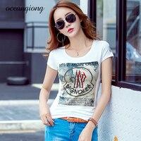 Summer 2018 Women T Shirt Tops Letters Diamonds Printing Short Sleeve O Neck Slim Cotton Tshirt