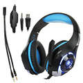 2017 PSP GM-1 Gaming Headset para PS4 Auriculares PC Tablet Laptop Micrófono, 3.5mm GM-1 Auriculares Diadema Llevó La Luz con Adaptador