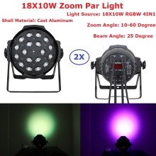цена на 2XLot LED Par Light 18X10W 4IN1 RGBW EU/US Plug 5/6/7/8/13CH LED Zoom Par Lights DMX Stage Effect Lighting Dj Disco Wash Lights