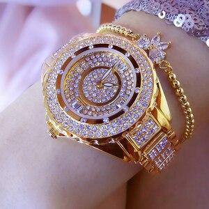 2018 nowe luksusowe zegarki damskie diamentowy zegarek z dużą tarczą zegarki kwarcowe moda damska zegarek na rękę ze strasów Relogios Femininos