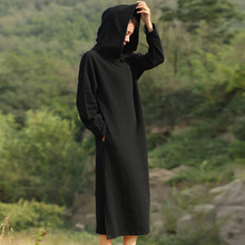 Solid Black Red Long sleeve Hooded Mid Long Dress Women Autumn Cotton Linen Vintage Dress Novelty Hooded Vestidos Robe 5071