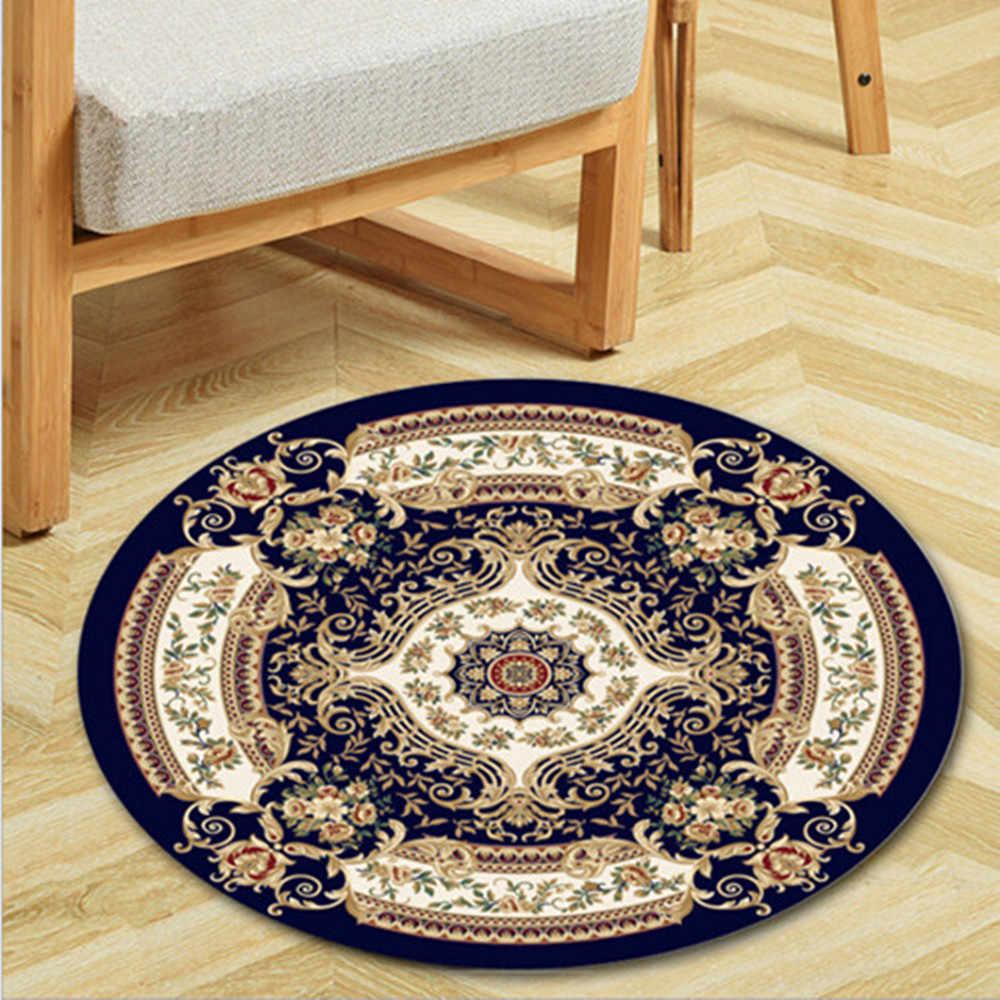 Alfombra de impresión 3D circular, alfombras de cojines de ordenador Jacquard, alfombras de decoración de estudio de dormitorio para sala de estar, alfombras de cama de lujo, esterilla de Yoga