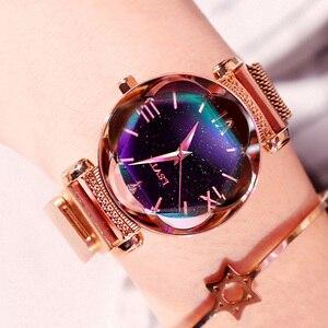 Image 2 - Женские наручные часы, роскошные часы из розового золота с магнитной застежкой и браслетом звездного неба, 2019