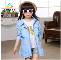 girls jacket children's clothing big kids spring & autumn child medium-long 2015 baby outerwear girl trench coat jacket 120-160