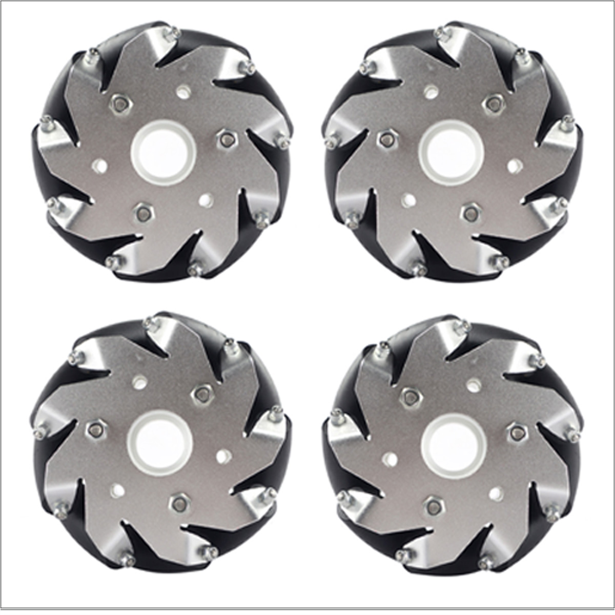 A Group of (4) 4 Inch 100 Mm Universal Wheels 14162 100mm Mecanum Wheel Caster / Omni Wheel 4 inch 100mm aluminum mecanum wheels set basic 2 left 2 right for robot car 14162