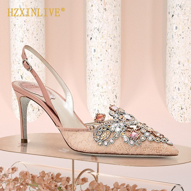 Luxury Brand Wedding Shoes Bride Rhinestone Shoes Woman Wedding Heels Stilettos Pearls Women Pumps Ankle Strap