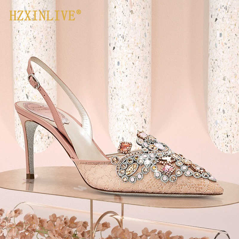 Mewah Merek Sepatu Pernikahan Pengantin Berlian Imitasi Sepatu Pernikahan Sepatu Hak Stiletto Mutiara Wanita Pompa Tali Pergelangan Kaki Sepatu Hak Tinggi