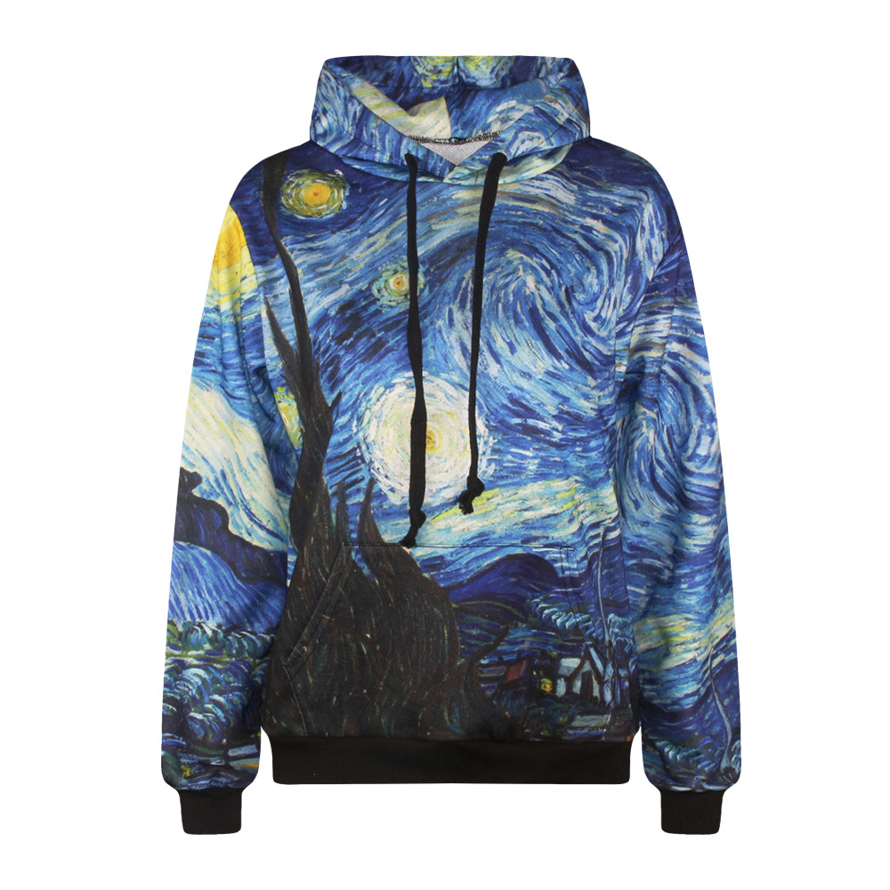 Cool Sweatshirt Hoody Pullover Oil-Painting Couple Vacation 3d Print New-Fashion Van Gogh