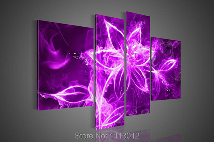 Hot Sale High Quality White Flower Oil Painting On Canvas 4Pcs Set Abstract Art Home Wall Decoration Modern For Living Room