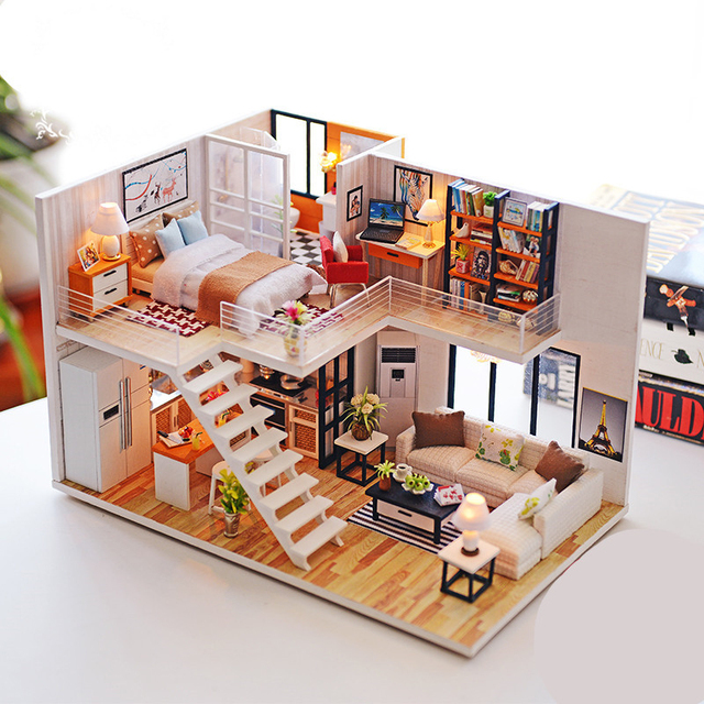 Assemble DIY Doll House Toy Wooden Miniatura Doll Houses Miniature Dollhouse toys With Furniture LED Lights Birthday Gift 1